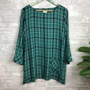 NEW j. Jill plaid tunic blouse